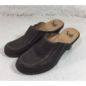 Sofft Mules Clogs Heels Womens Leather Brown Sz 6